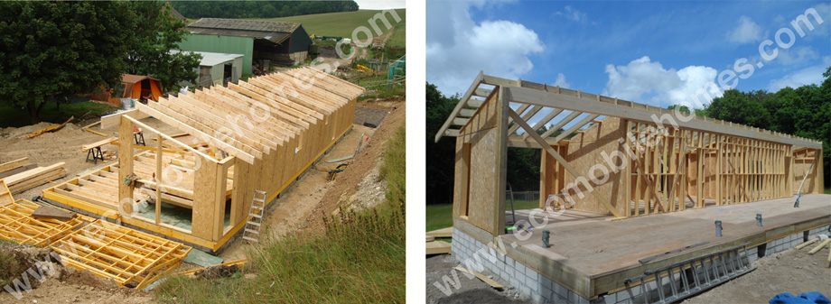 Mobile Home Timber Frame Kit Being Assembled Onsite